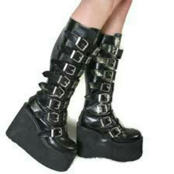 03f8c10b5351 Demonia Shoes - Demonia black Gothic buckle boots